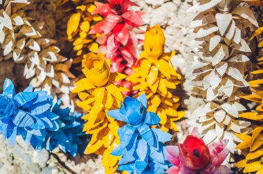 Recycled colorful plastic flowers