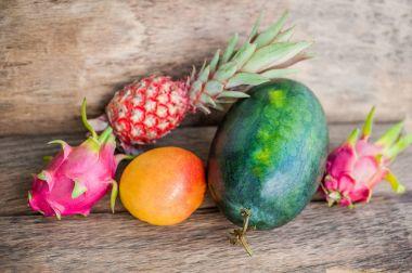 Watermelon, mango, pineapple, dragon fruit