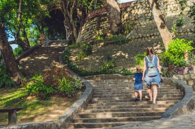Mother and Toddler Son tourists in Vietnam