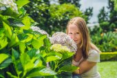 Young woman near Pink hydrangea flowers