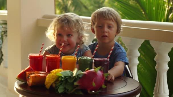 Děti pít pestré zdravé smoothie. Vodní meloun, papája, mango, špenát a dračí ovoce. Koktejly, džusy, nápoje, nápoje odrůdy s čerstvým ovocem na dřevěný stůl.