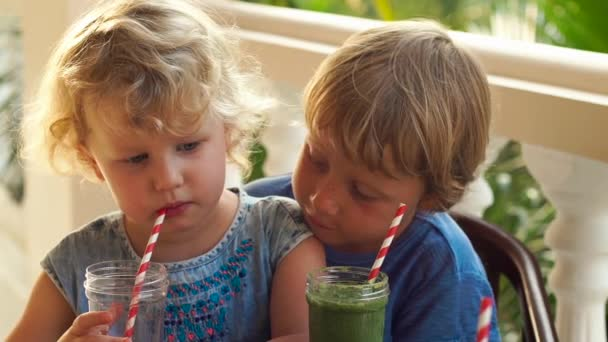 Children drink colorful healthy smoothies. Watermelon, papaya, mango, spinach and dragon fruit. Smoothies, juices, beverages, drinks variety with fresh fruits on a wooden table.