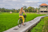 A young woman rides a bicycle on a rice field in Ubud, Bali. Bali Travel Concept