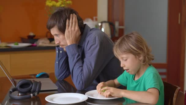 During quarantine, man is trying to work remotely from home, but his son and wife disturbe him. Children and parents conflicts during self-isolation