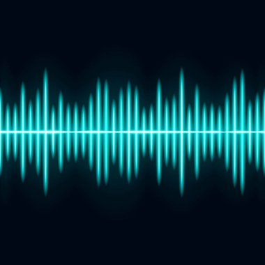 Blue Sound wave vector. Light wave effect.