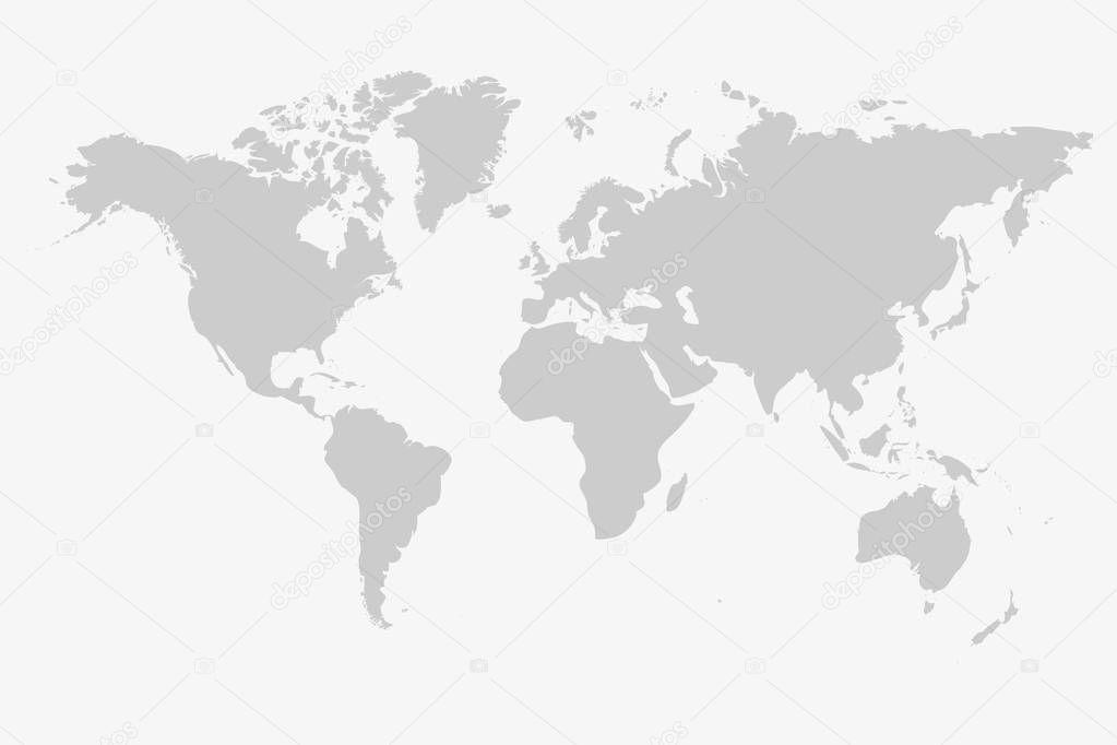 Vecteur De Carte Gris Monde Isolé Sur Fond Blanc