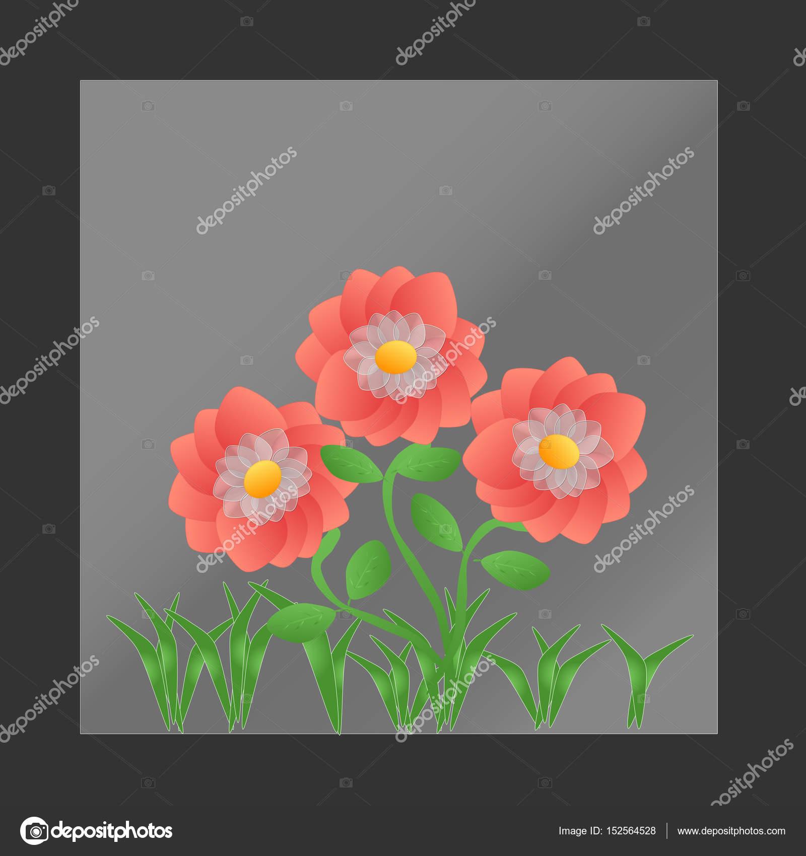 Three Peach flowers — Stock Vector © dipalipix #152564528