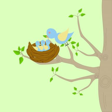 A tree with a nest and a bird