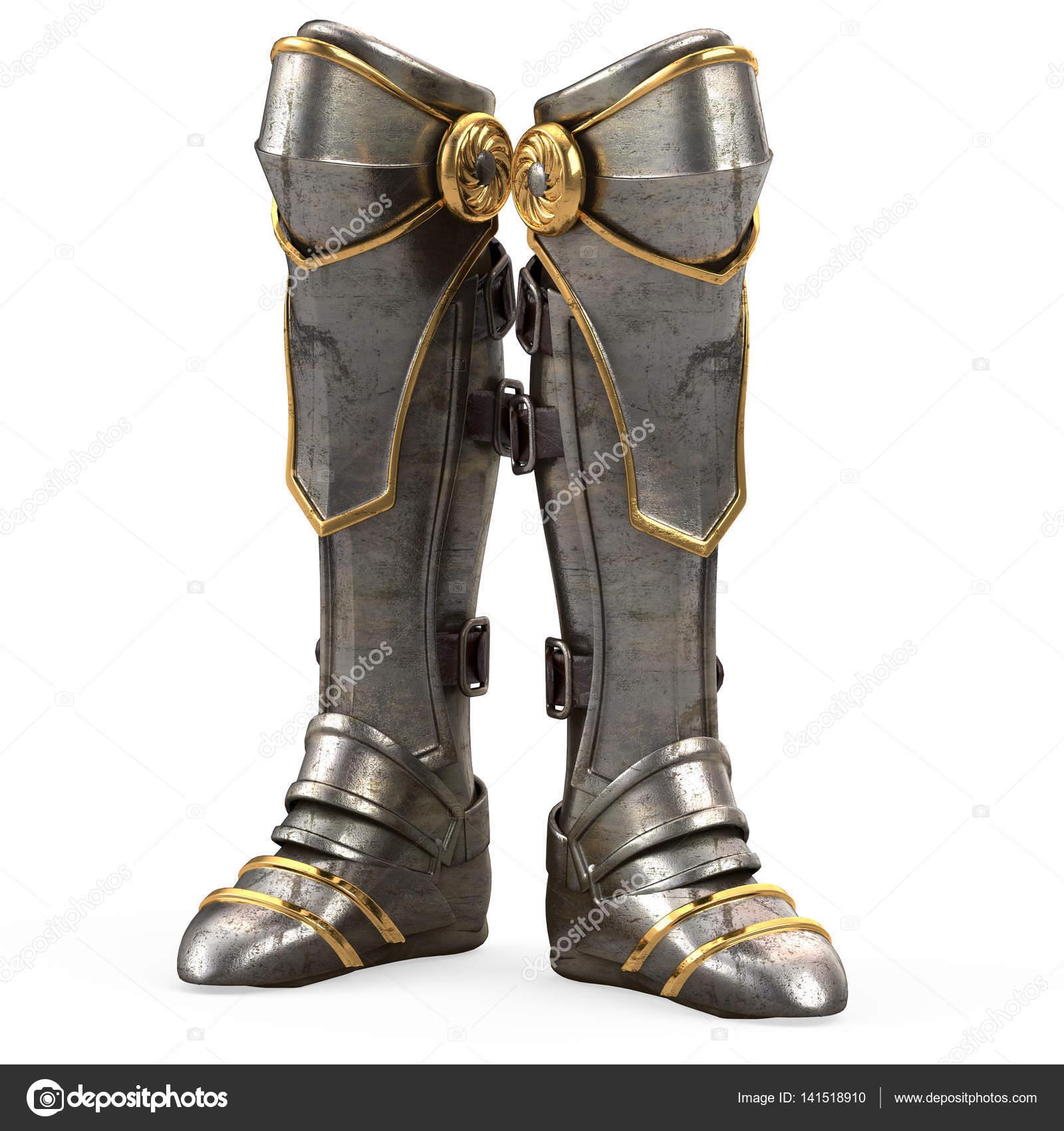 Eisen Fantasie Stiefel Ritter Rüstung isoliert auf weißem