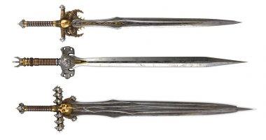 Swords on a white background. 3d illustration