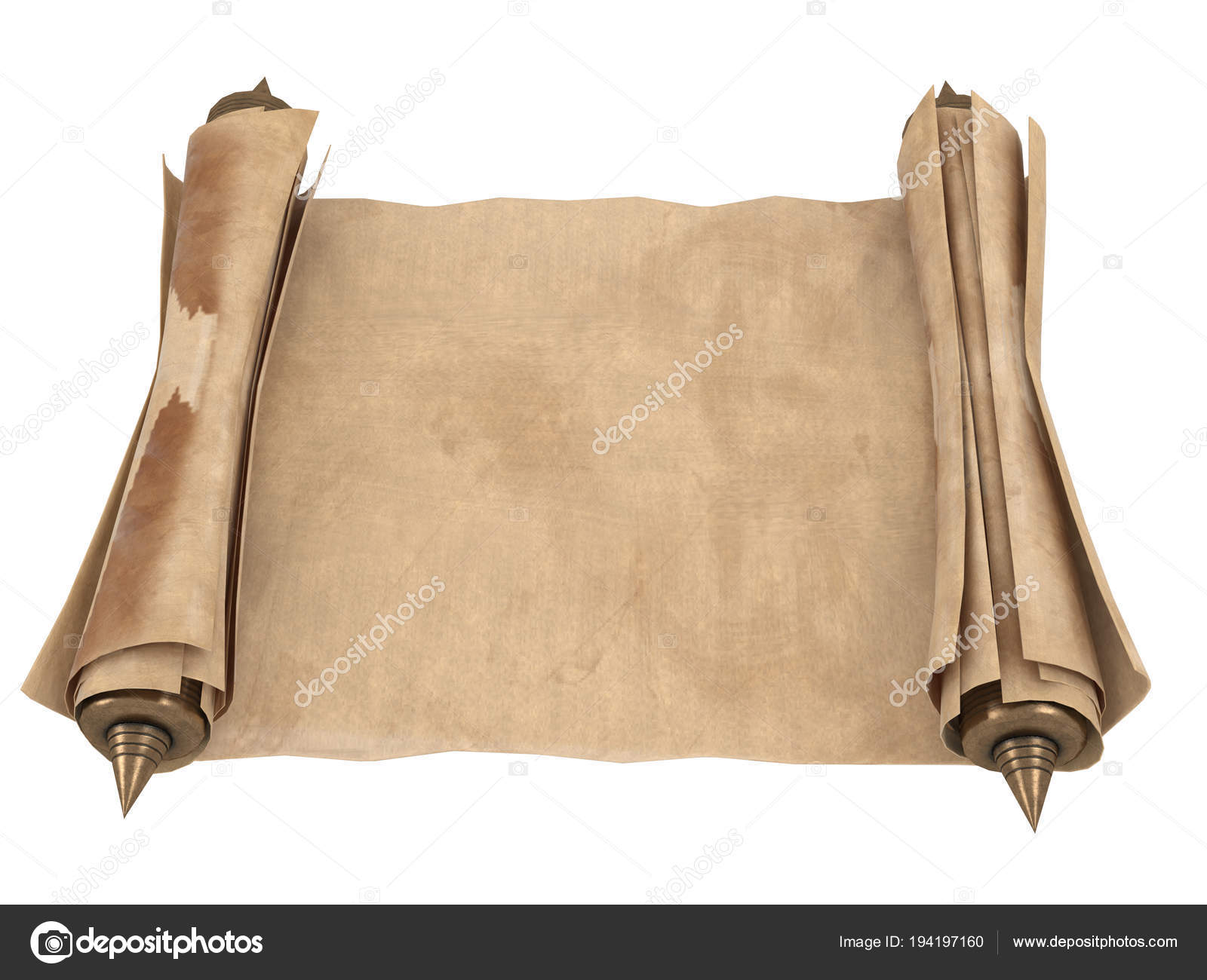 Rolled old paper scroll isolated on a white background  3d