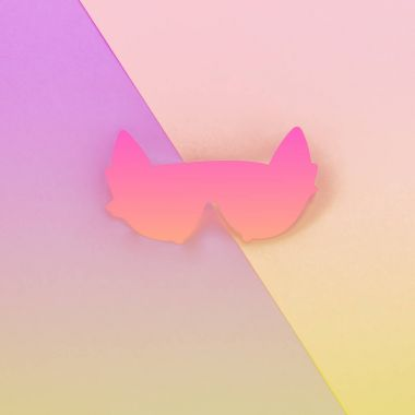 sunglasses in shape of a cat on two-colored background