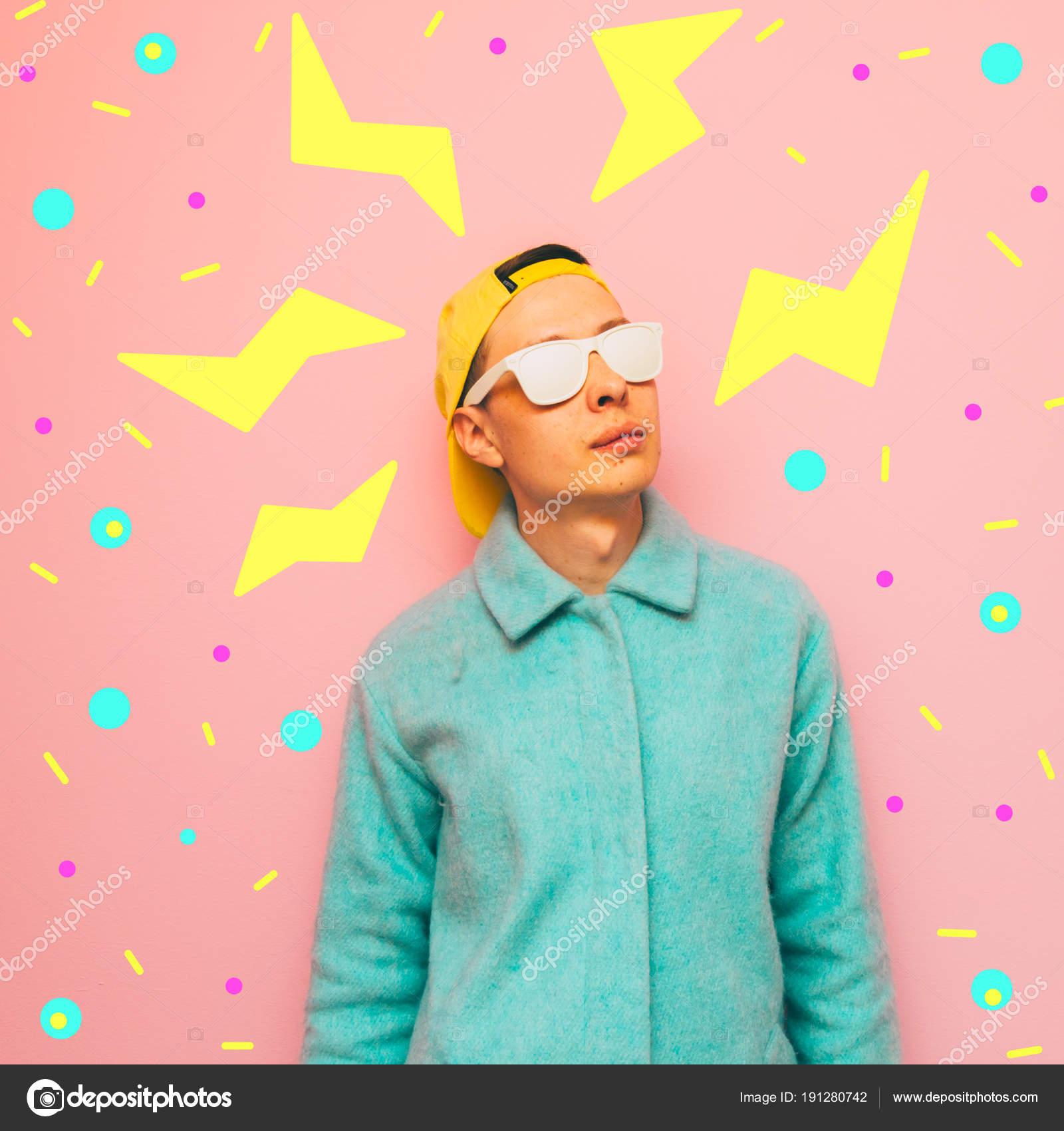 Stylish Fashionable Guy Wearing Sunglasses Coat Crazy