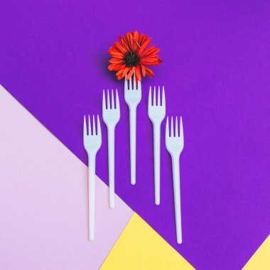 Plastic forks with orange flower on yellow and  purple background of paper textures. Minimal flat lay. surreal food concept of meal