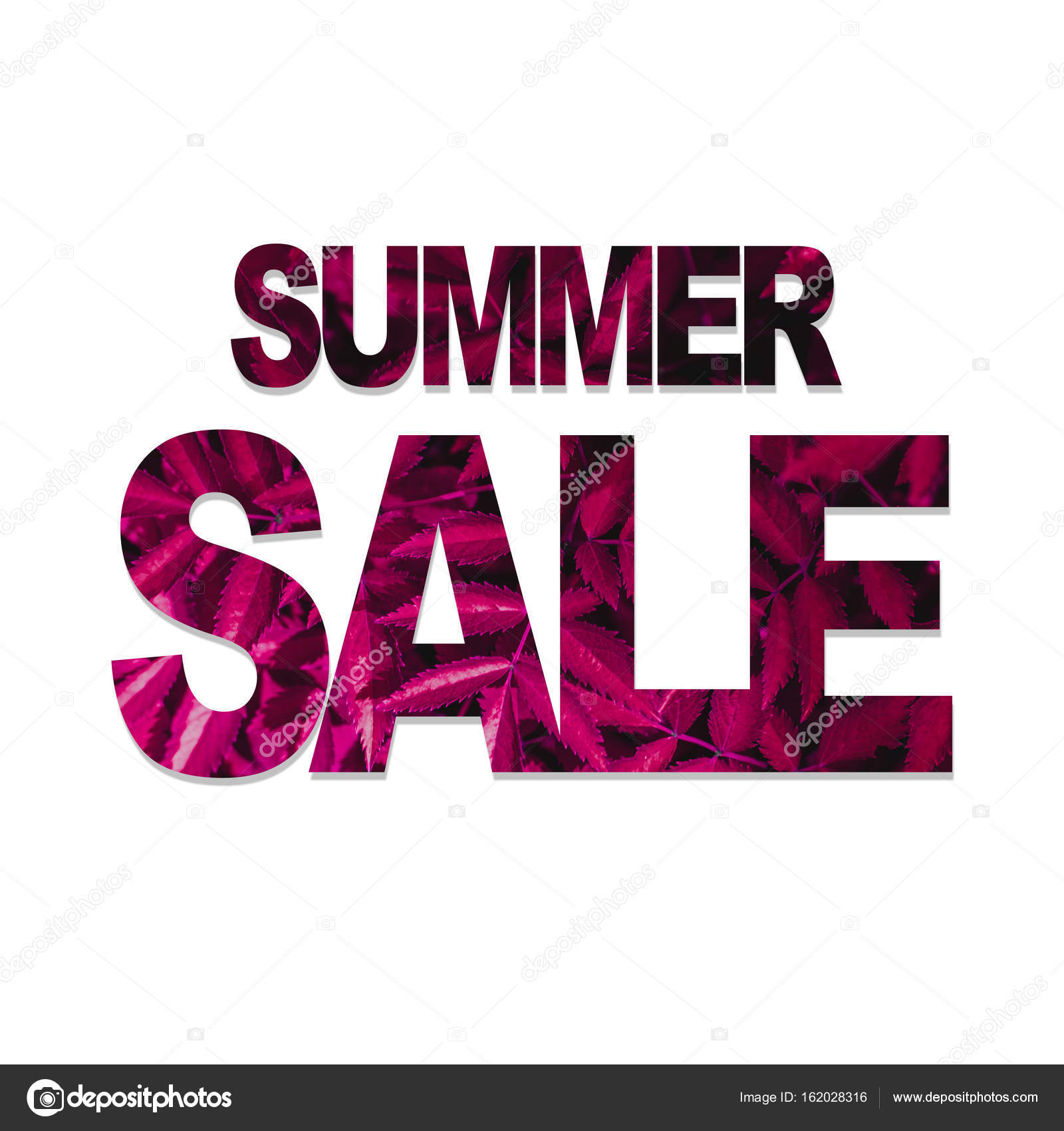 summer sale poster template with leaves pattern stock photo