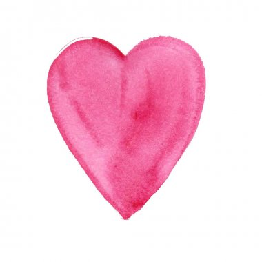 Watercolor painted pink heart, vector element for your design clip art vector