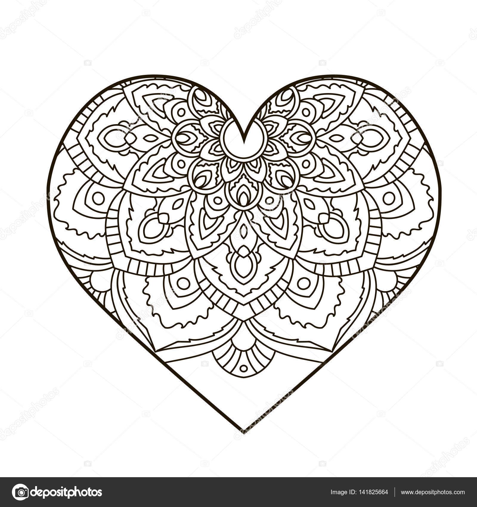 Corazón Con El Mandala Floral Elementos Decorativos Vintage