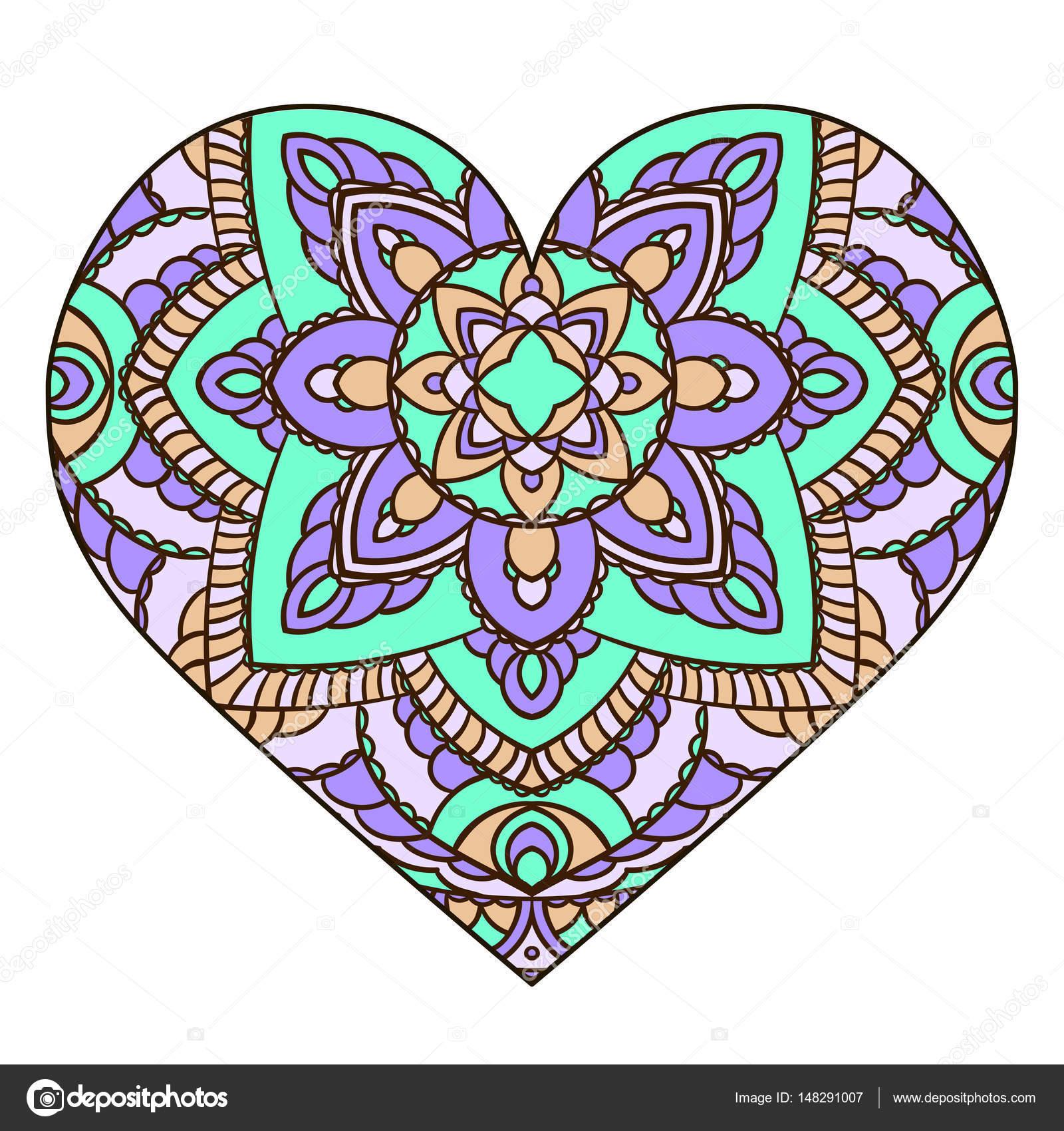 Corazón con el Mandala floral. Elementos decorativos vintage ...