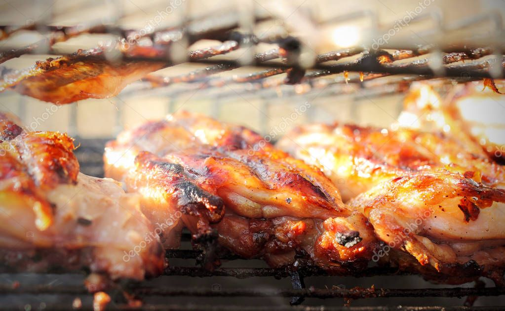 Shish kebab roasted on a grill in a forest in the open air