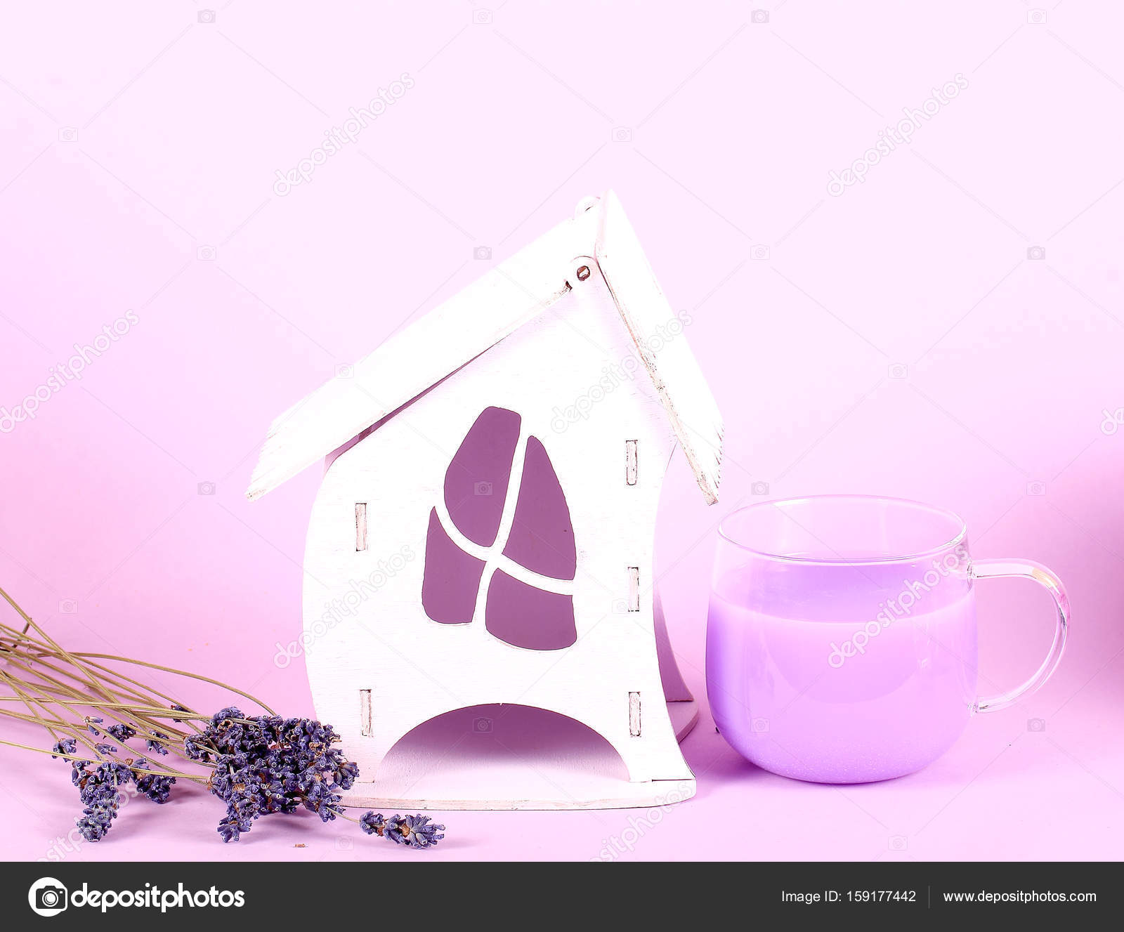 House made of wood for tea bagged toy purple color — Stock Photo ...