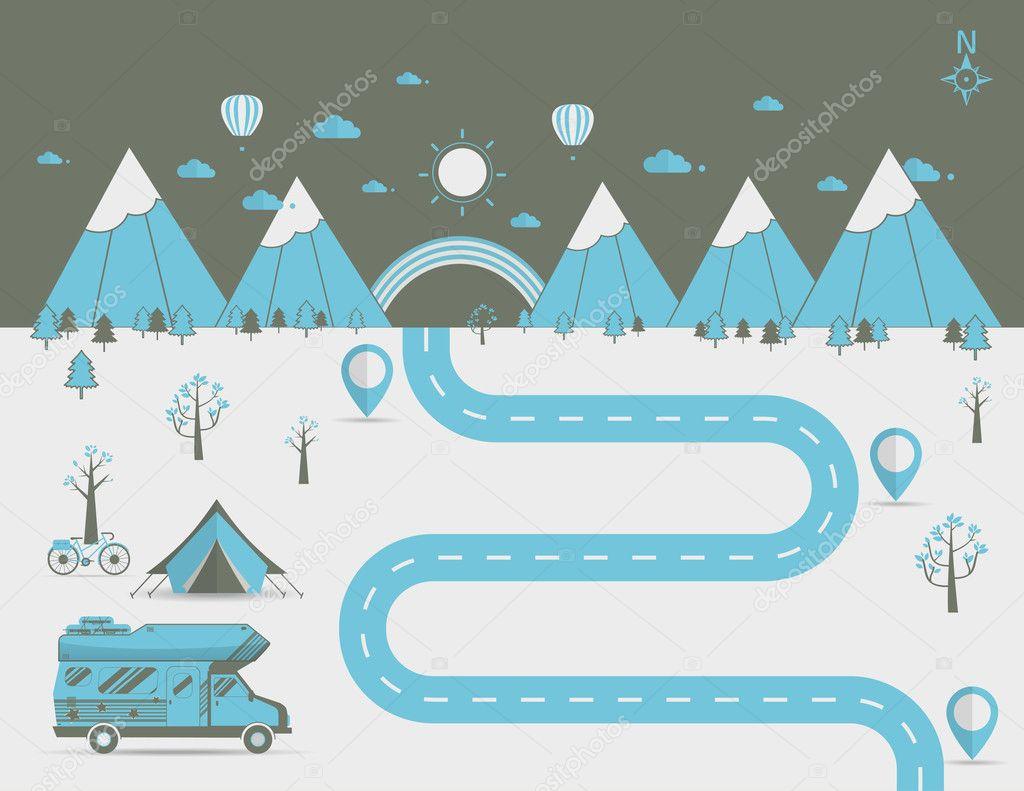 National mountain park camping scene Vector illustration