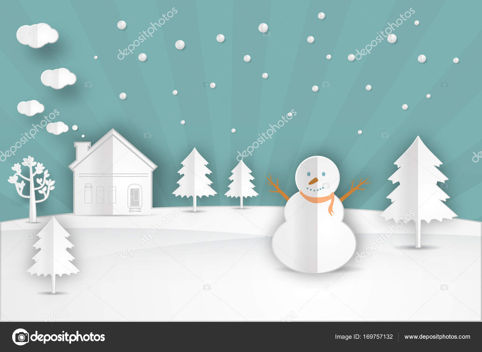 Winter Landscape With Christmas Trees Snowmen Stock Vector C Es7sense 169757132