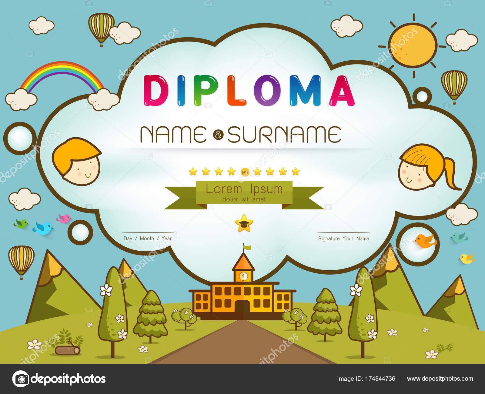 certificate kids diploma stock vector es7sense 174844736