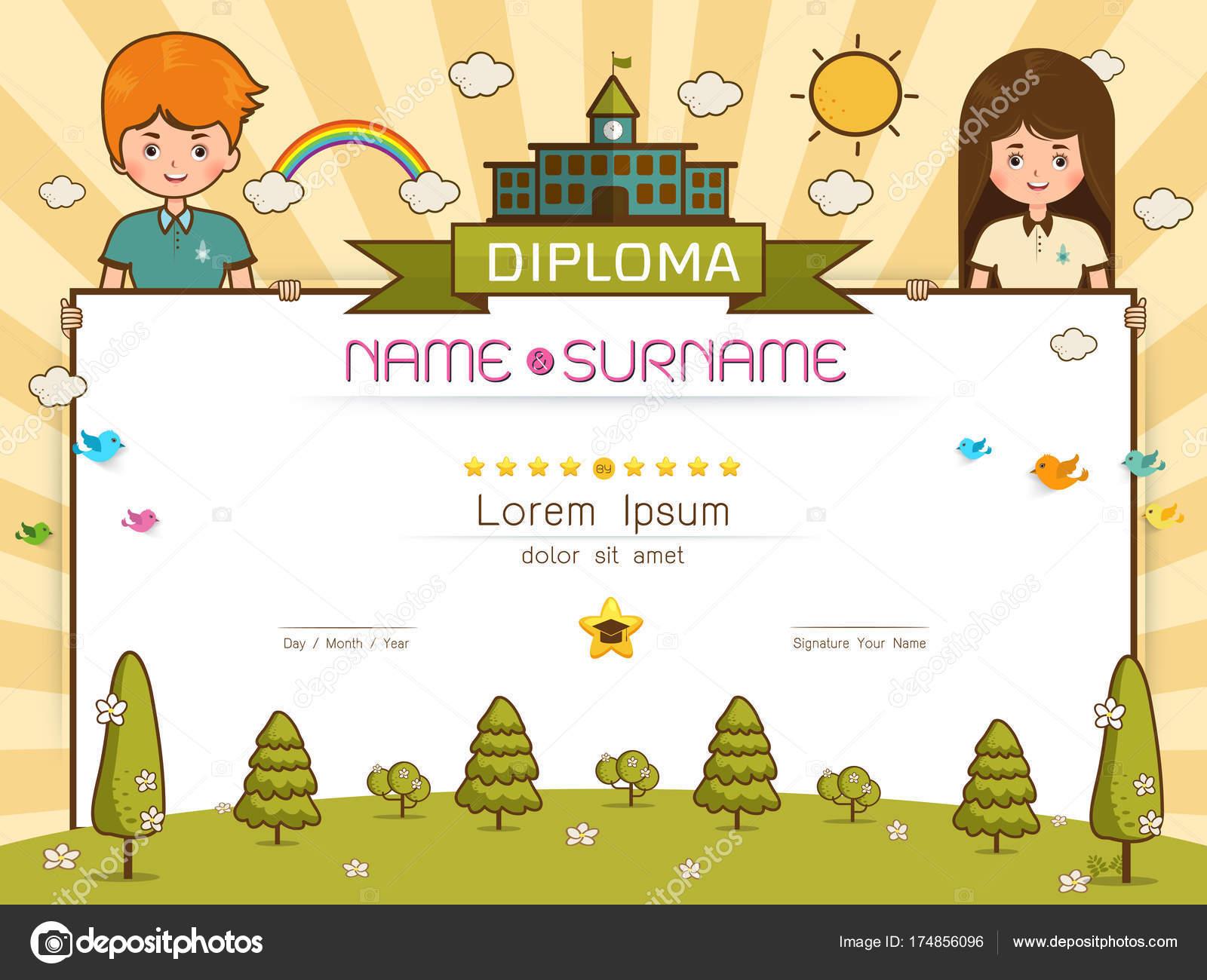 certificate kids diploma stock vector es7sense 174856096