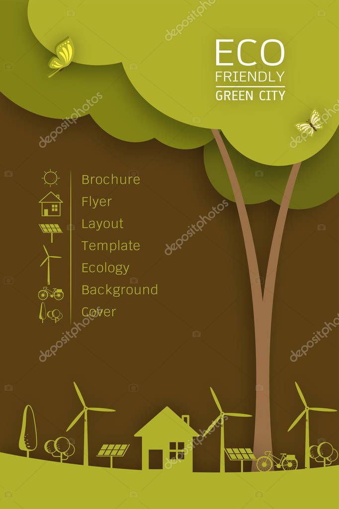 Vector Brochure Flyer Design Layout Template. Ecology Background