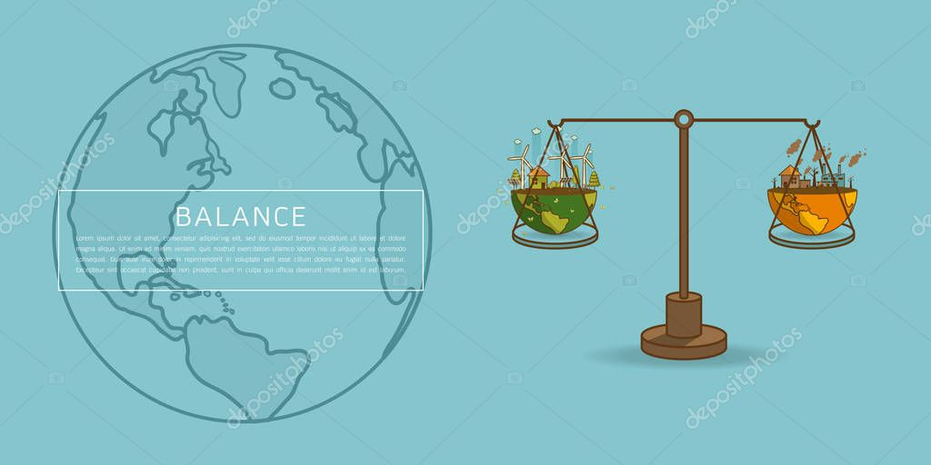 World globe on a scale  Balance concept vector illustration