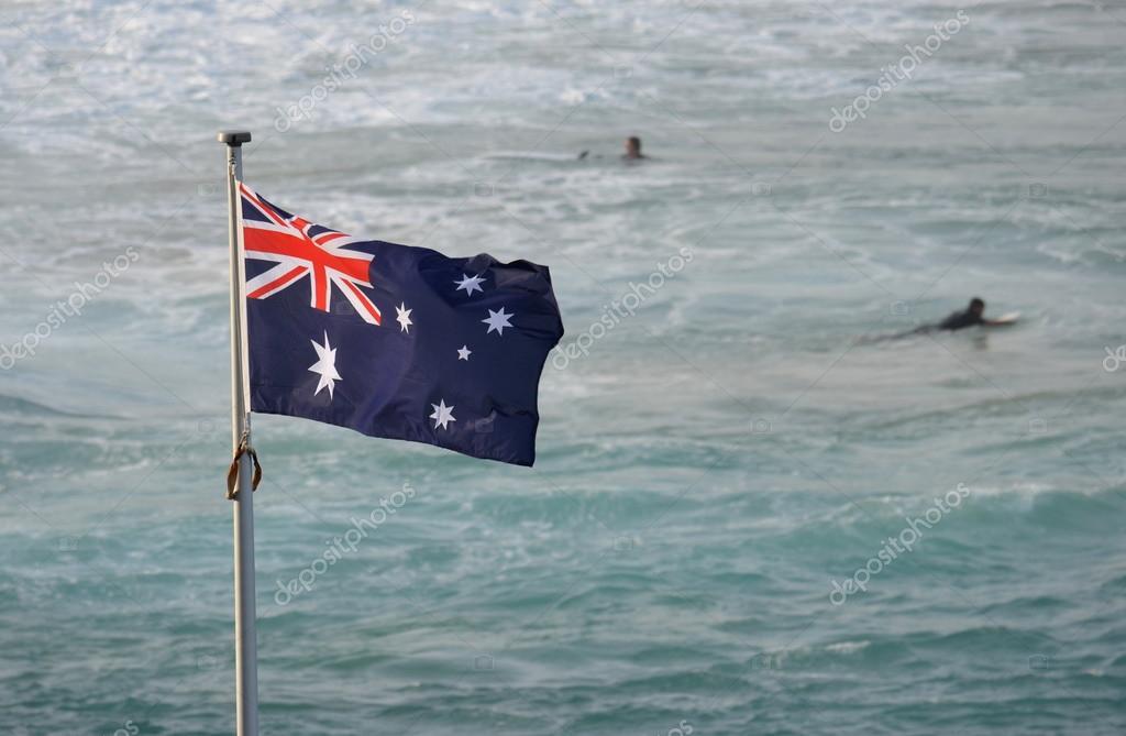 waving Australian flag