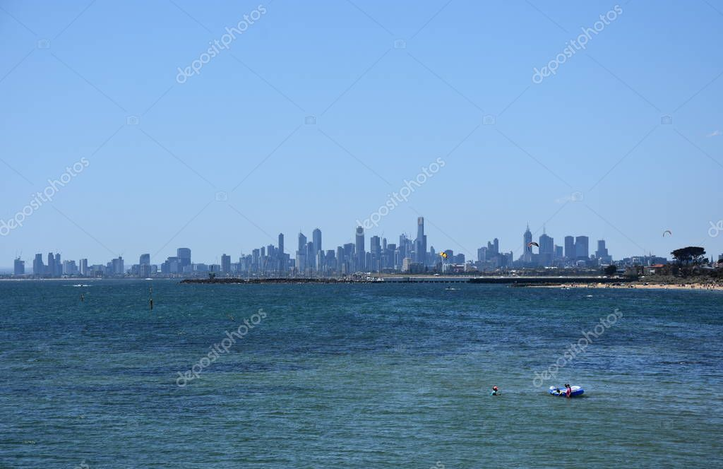 Melbourne skyline from Brighton Beach Gardens