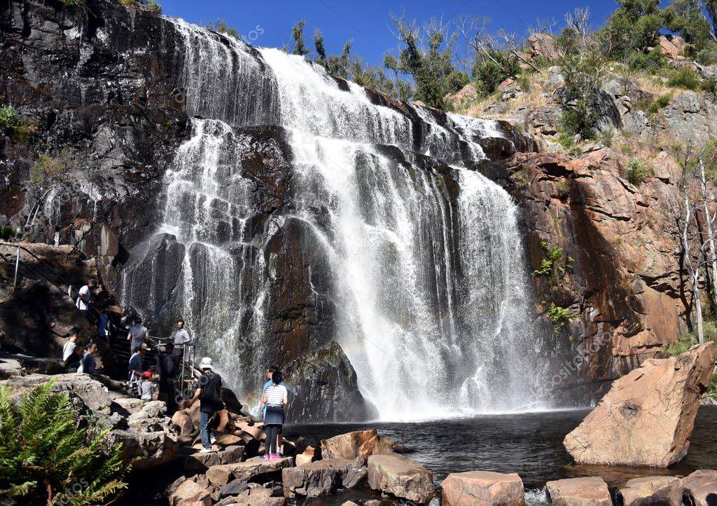 Tourists at MacKenzie Falls waterfall