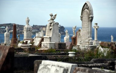 Sydney, Australia - Feb 5, 2017. Waverley Cemetery is a state heritage listed cemetery in an iconic location in Sydney. It is noted for its largely intact Victorian and Edwardian monuments. stock vector