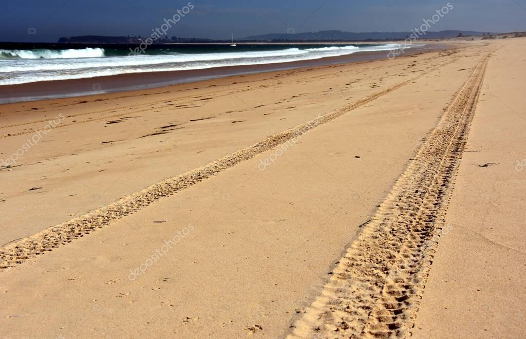 landscape of the beach with tyre track