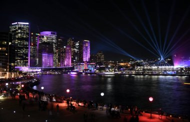 City lights and laser show in Sydney