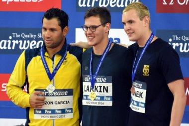 Swimmers PINZON GARCIA Omar, LARKIN Mitchell and Peter BERNEK