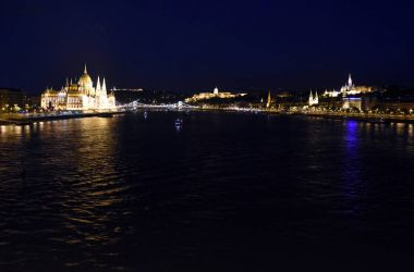 Night view of Hungarian Parliament in Budapest