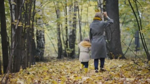 Matka a její dcera malá holčička hraje v podzimním parku - Maminka a dítě má zábavu a procházky