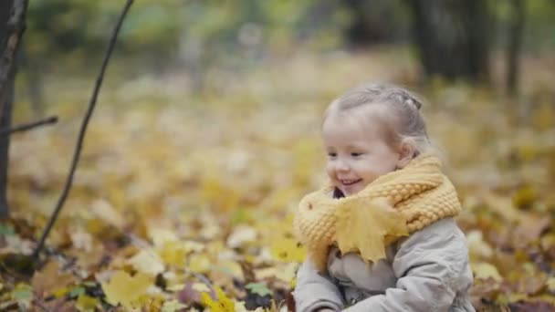 Mother and her daughter little girl walking in a autumn park - mommy and child have fun and playing in yellow leaves