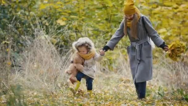 Matka a její dcera malá holčička hraje v podzimním parku - maminka dává dítě drží herbář a kopání žluté listy