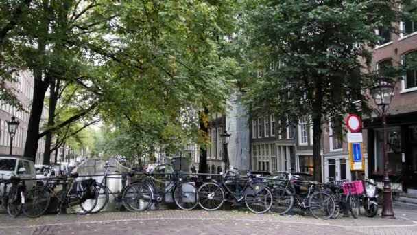Amsterdam street with bicycles on canal, Autumn, Netherlands