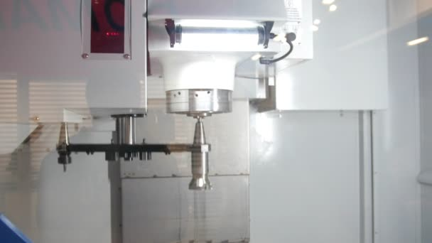 Automotive drilling machine - process of metal working at industrial manufacturing