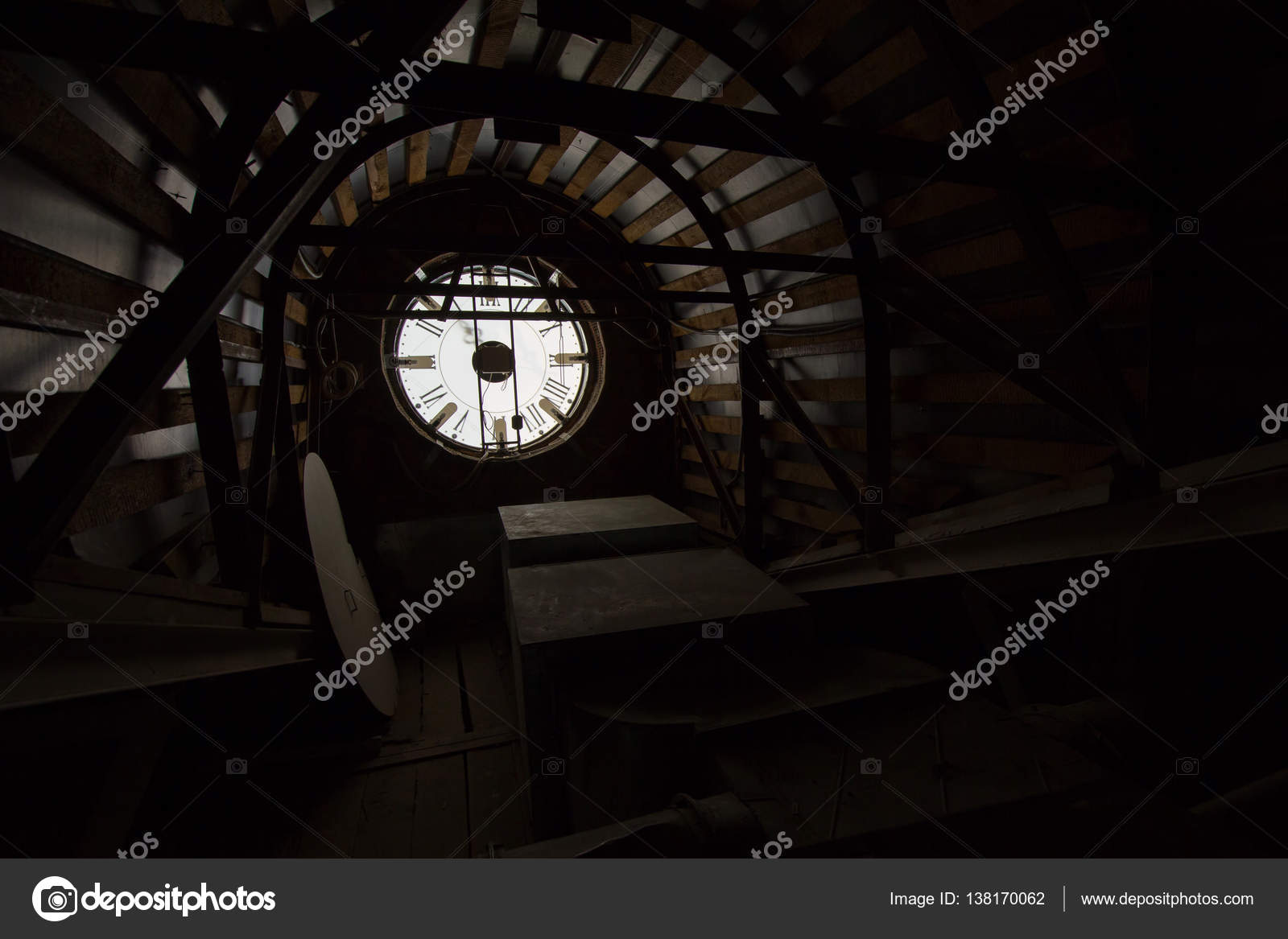 Old wall clock - mechanism inside — Stock Photo