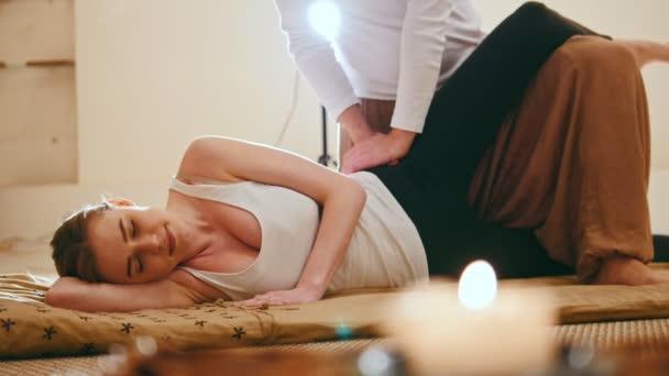 Thai Therapy Massage Caucasian Female Gets Pleasure In Spa Salon Stock Video