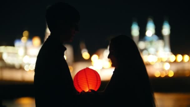 Kazan, Russia, 12 may 2017 - couple in love at festival of water Lanterns on Kazanka