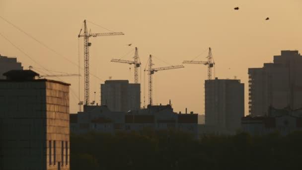 Stavební jeřáby na staveništi při východu slunce