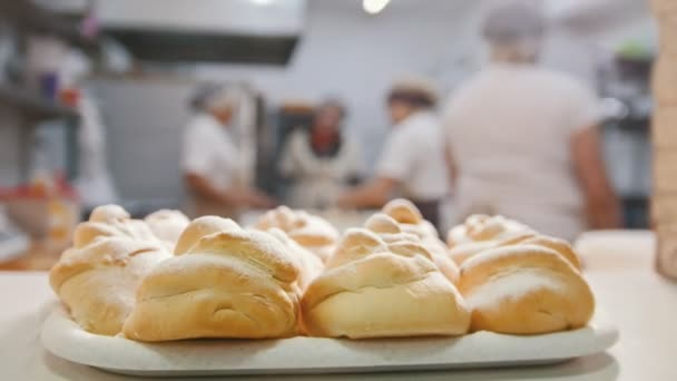 Fresh hot pastries in the bakery