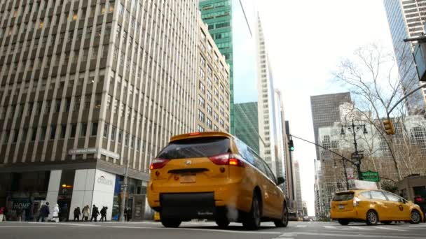 NEW YORK, USA - DECEMBER , 2017: taxi cabs driving in Manhattan in New York