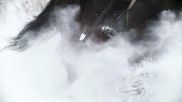 Fragment tryskem koně s jezdcem v sněhové pole - pomalý pohyb